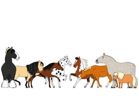 cute cartoon horse group
