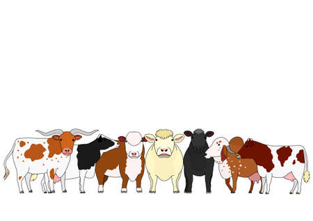 cute cartoon cattle group