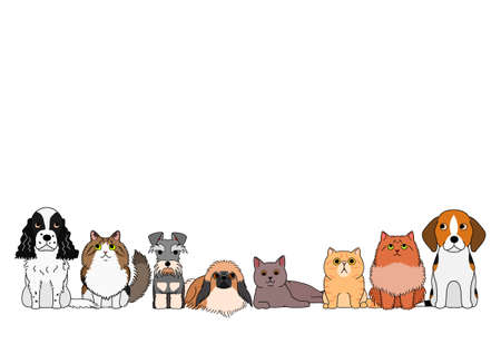 cute cartoon cats and dogs group