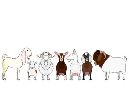 cute cartoon goat group