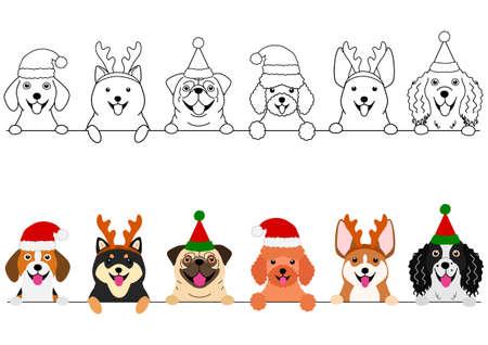 petits chiens souriants avec ensemble de bordures de costumes de Noël