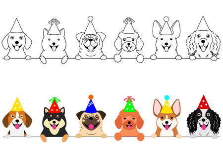 smiling small dogs with party hat border set  イラスト・ベクター素材