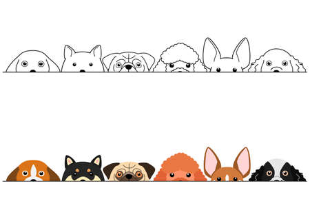 peeping small dogs border set Illustration