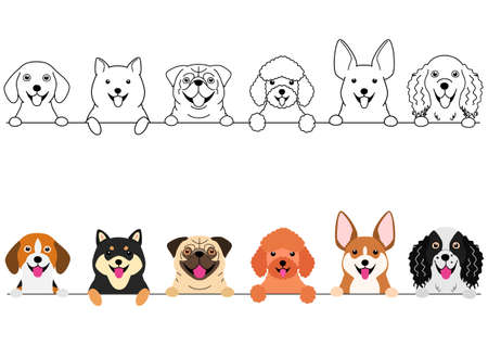smiling small dogs border set  イラスト・ベクター素材