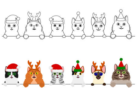 smiling cats with Christmas costumes border set  イラスト・ベクター素材