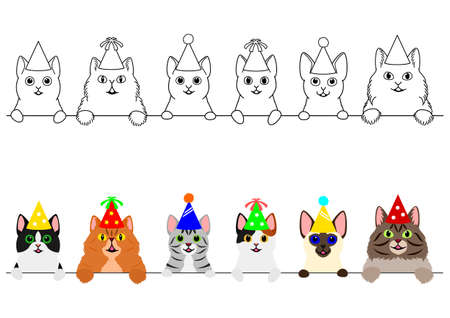 smiling cats with party hat border set