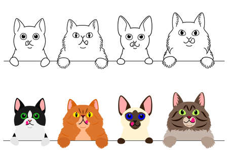 cats licking their lips in a row