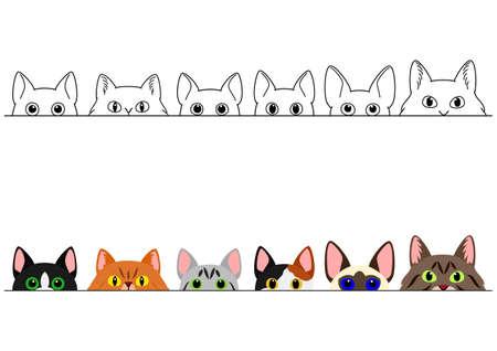 funny peeking cats border set Illustration