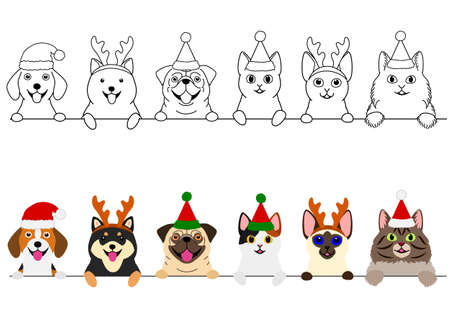 smiling cats and dogs with Christmas costumes border set Ilustração