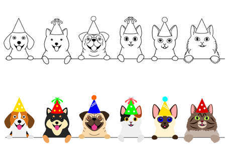 smiling cats and dogs with party hat border set