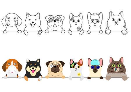 frontière de chats et de chiens malades malheureux