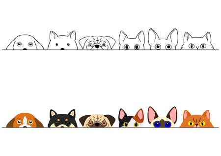 divertente set di bordi per cani e gatti che sbirciano Vettoriali