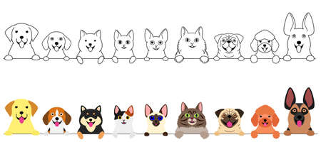 smiling cute dogs and cats border set Ilustração