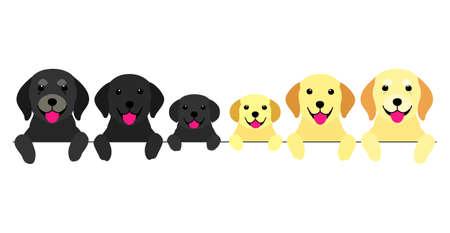 three generations of dogs border  イラスト・ベクター素材