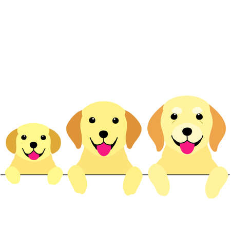 three generations of dogs border Illustration