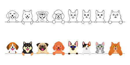 smiling cute dogs and cats border set Illustration