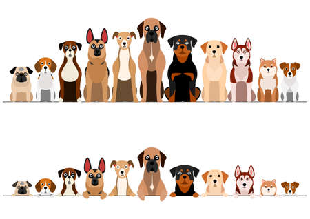 set of brownish dogs border set Stock Illustratie