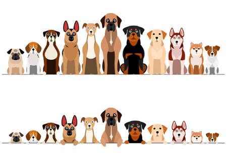 set of brownish dogs border set Illustration