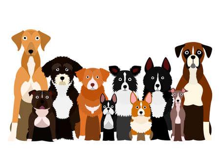 group of white paw dog  イラスト・ベクター素材