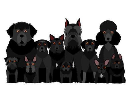 group of  black dog Illustration
