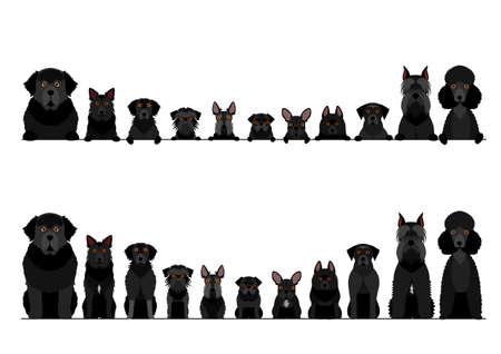 border set of black dogs
