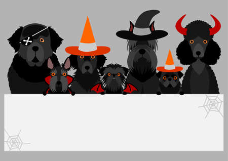 black halloween dog with white board Illustration