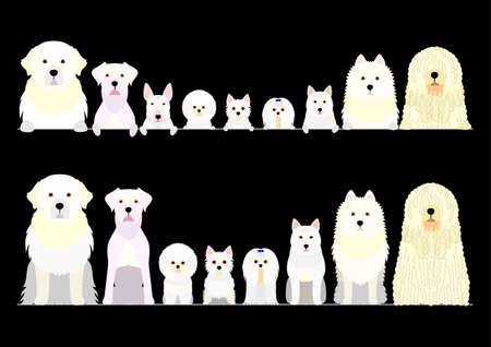 border set of white dogs Illustration