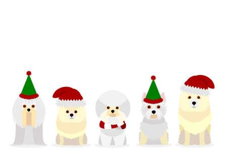 white small dogs with Santa Claus hat Ilustración de vector