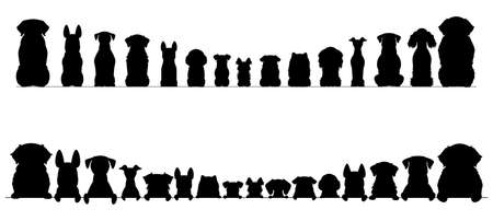 small and large dogs silhouette border set, half and full length 向量圖像