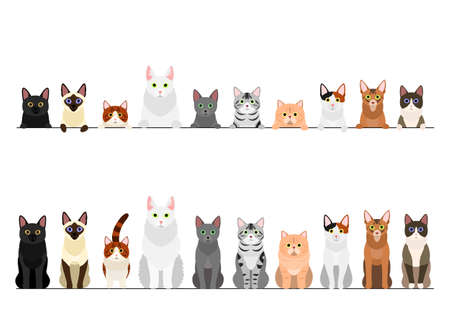 border set of various cats
