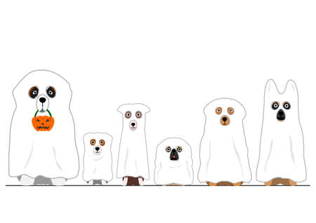 halloween ghosts dogs in a row 向量圖像