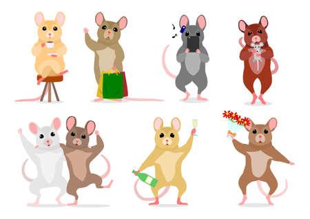 set of cute man like mice Иллюстрация