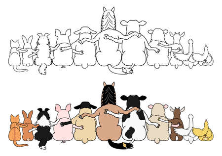 farm animals in a row, paws around shoulders each other, rear view