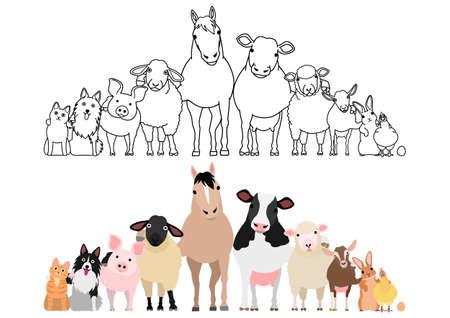 farm animals in a row, paws around shoulders each other Векторная Иллюстрация