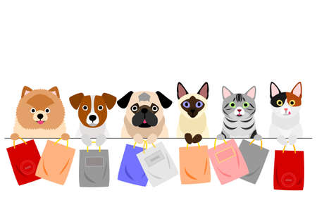 cats and dogs holding paper bags in a row Ilustrace
