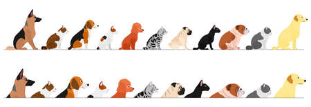 set of  side view  dogs and cats border Stock Vector - 134823784