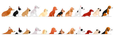 set of  side view small dogs border Illustration