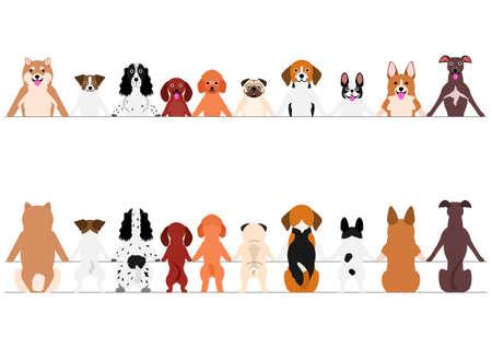 Lächelnde kleine Hunde-Rand-Set, Vorder- und Rückseite