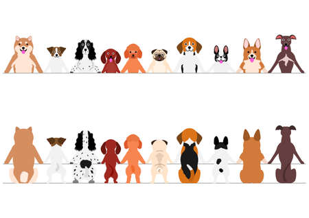 Smiling Small Dogs Border Set, Front and Back
