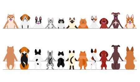 Lächelnde kleine Hunde und Katzen Bordüre, Vorder- und Rückseite