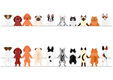 Smiling Small Dogs and Cats Border Set, Front and Back Illustration