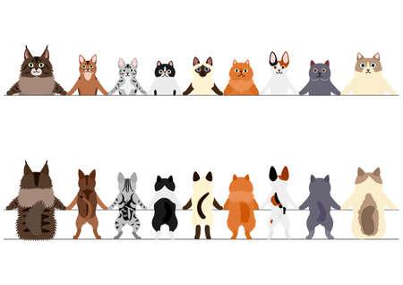 Conjunto de bordes de gatos sonrientes, delante y detrás. Ilustración de vector