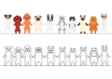 dogs and cats holding hands border set Illustration