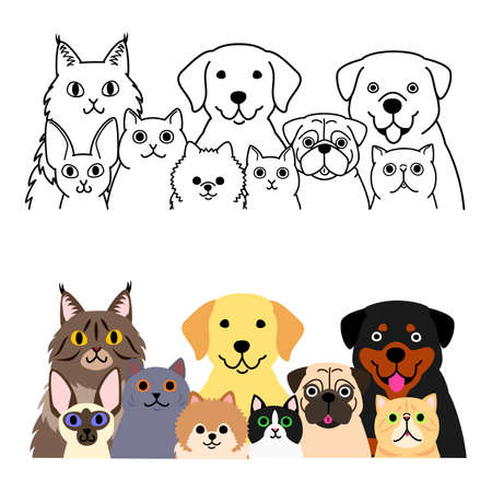 cats and dogs group set 矢量图像