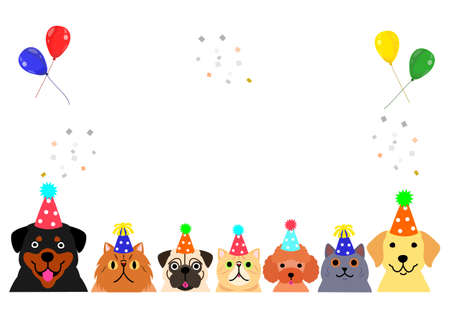 happy dogs and cats with party hat border