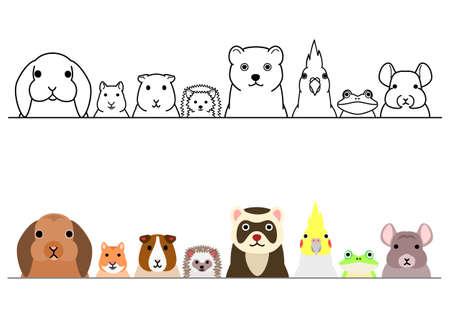 cute cartoon pets animals border set