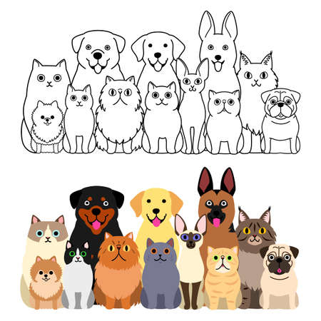 cats and dogs group set, full body