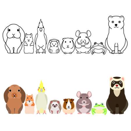 cute cartoon pet animals border set, full body Vektorgrafik