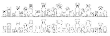 dogs big border set, line art