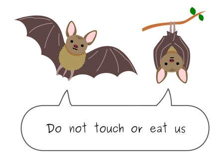 do not eat or touch bats Vektorgrafik